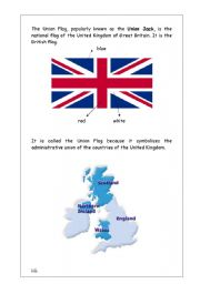 English Worksheet:  Union Jack reading (British Culture/Citizenship)