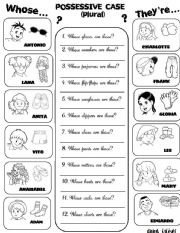 English Worksheets: Possessive Case (plural) + Clothes (updated)