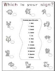 English Worksheets: Which is your sign?