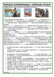 English Worksheet: ROBINSON CRUSOE: READING COMPREHENSION