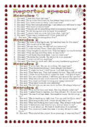 English Worksheet: Grammar from A to Z Reported Speech (13-25)
