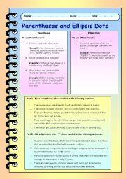 English Worksheet: Parentheses and Ellipsis Dots