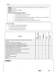 English Worksheets: Character Analysis Marking Criteria