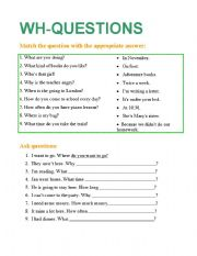 English Worksheets: wh questions