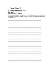 English Worksheets: Something you learned from a bad experience