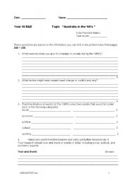 English Worksheet: Australian politics in the 1960�s