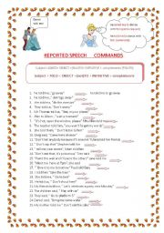 English Worksheet: reported speech: commands