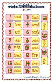 English Worksheet: Ordinal and Cardinal Numbers Dominoes