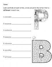 English Worksheets: P, b & q Letter Reversal