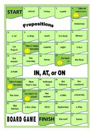 English Worksheet: IN, AT, ON Prepositions Board Game
