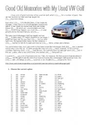 English Worksheet: Good Old Memories with My Used VW Golf