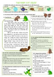 English Worksheet: THE VERY FAT FROG - Reading Comprehension