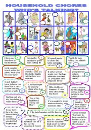 English Worksheet: HOUSEHOLD CHORES.WHO�S TALKING/12