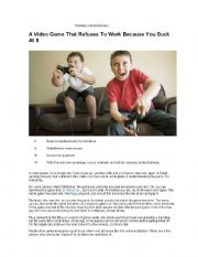 English Worksheet: Video Games reading comprehension