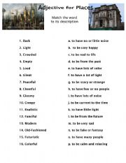 English Worksheet: Adjectives for Describing Places