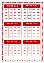 Numbers bingo worksheets