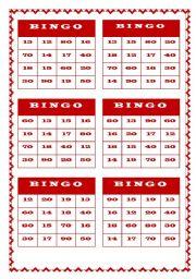 BINGO - NUMBERS (TY-TEEN)