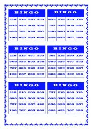 BINGO - NUMBERS (100-1,000)