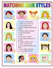 English Worksheet: MATCHING HAIR STYLES