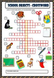 English Worksheet: SCHOOL OBJECTS - CROSSWORD + KEY