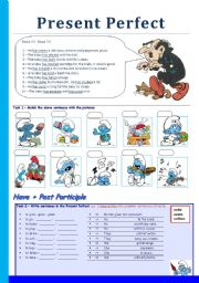 English Worksheets: Present Perfect with the Smurfs