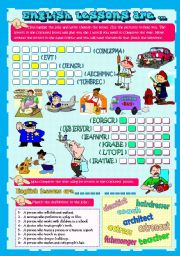 English Worksheets: ENGLISH LESSONS ARE�...    (JOBS)
