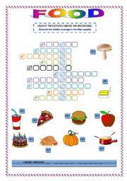 English Worksheet: FOOD CROSSWORD AND HIDDEN MESSAGE