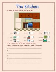 English worksheet: the kitchen