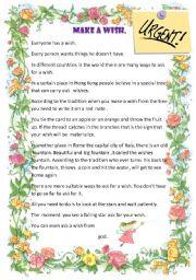 English Worksheet: short story-make a wish.