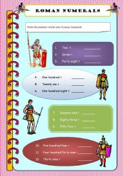 English Worksheets: Roman numerals