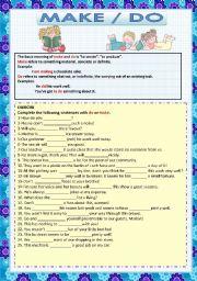 English Worksheets: MAKE and DO 1
