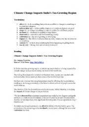 English Worksheet: Climate Change Reading Comprehension and Worksheet