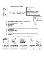 English Worksheets: Questions using be good at