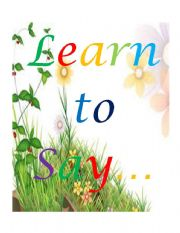 English Worksheets: learn to say