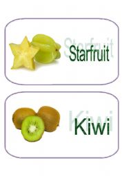 English Worksheet: Yummy Fruits Flash Cards (1/3)