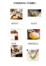 English Worksheet: COOKING VERBS part 2 -food  / recipes / imperatives