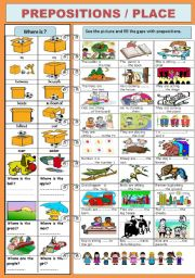 English Worksheet: PREPOSITIONS/PLACE