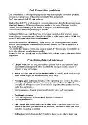 English Worksheet: Oral presentation guidelines