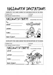 English Worksheets: HOLLOWEEN INVITATIONS 1