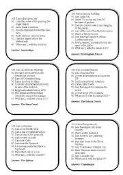 English Worksheet: Famous Places Trivia Card Game