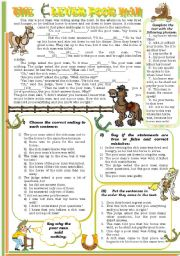English Worksheet: The Clever Poor Man. Reading text with exercises and KEYS to them.