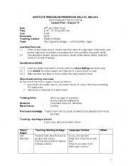 English Worksheet: LESSON PLAN BI