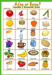 English Worksheets: Countable&Uncountable Nouns #  A/an or Some Game # Instructions # Fully editable
