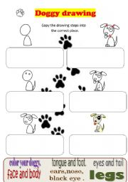 English Worksheets: draw a dog