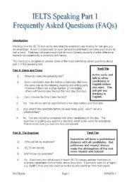 English Worksheet: IELTS Speaking Part 1 FAQs