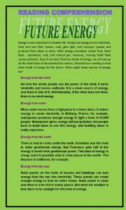 Reading Comprehension about FUTURE ENERGY - ESL worksheet by maggiejeria