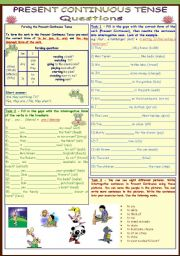 Present Continuous Tense * questions * 4 pages * 11 tasks * with key ***fully editable***