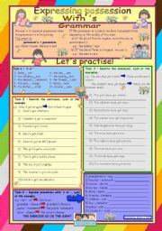 English Worksheets: Expressing possession with �s *** elementary level *** 2 pages *** 8 tasks *** key *** fully editable ***
