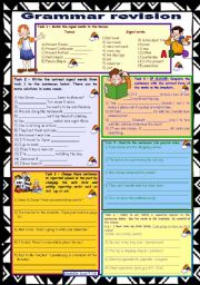 English Worksheet: Grammar revision 1 ☺ 6 tasks ☺ for intermediate, upper-intermediate level ☺ 30 minute-test ☺ with key