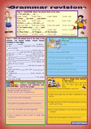 English Worksheet: Grammar revision 3 *** 5 tasks *** for intermediate, upper-intermediate level *** 30 minute-test *** with key